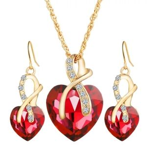 Crystal Heart Necklace Set & Earrings Red Bridal